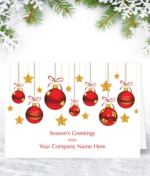 Baubles and Stars Christmas Card