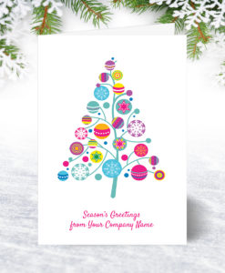 Bright Bauble Tree Christmas Card