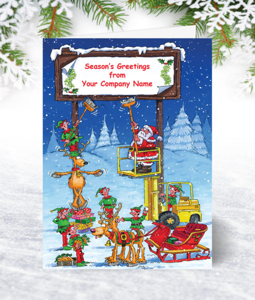 Christmas Billboard Forklift Christmas Card U0053
