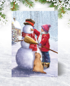 Dressing the Snowman Christmas Card
