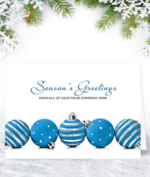 Five Blue Baubles Christmas Card