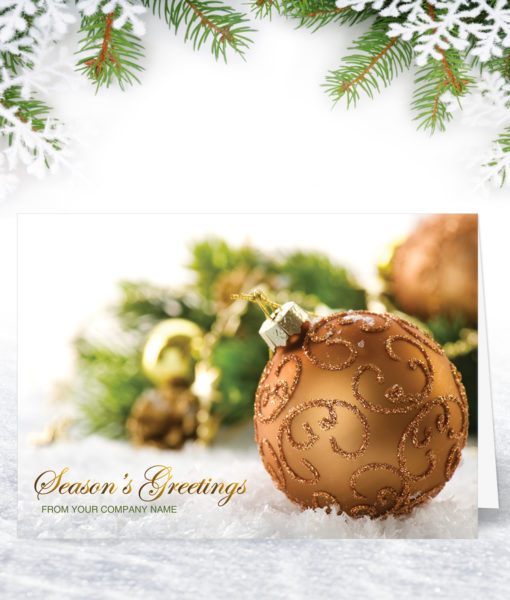 Golden Bauble Business Christmas Card