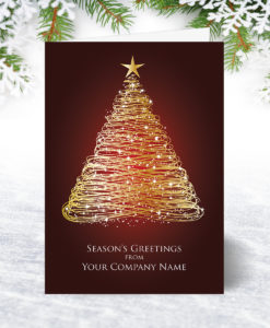 Golden Starry Tree Christmas Card