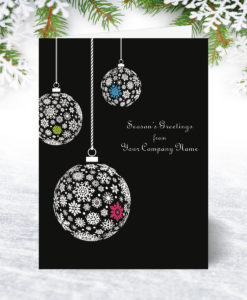 Midnight Baubles Christmas Card U0040