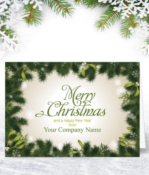 Mistletoe Border Christmas Card