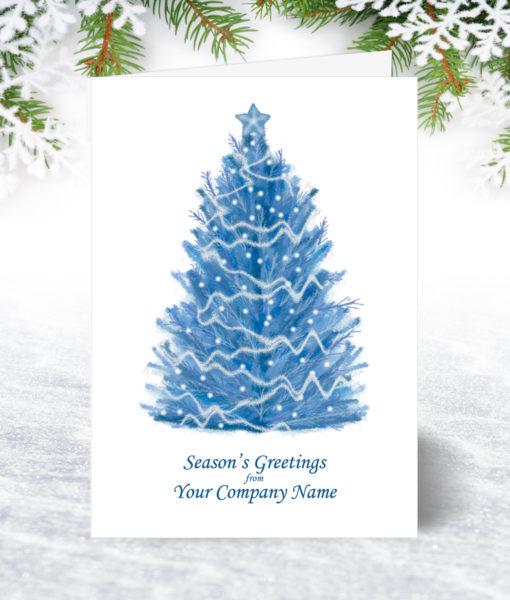 Pastel Blue Tree Christmas Card