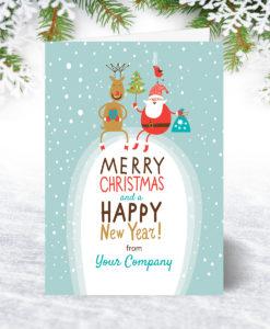 Santa Rudolph and Robin Christmas Card