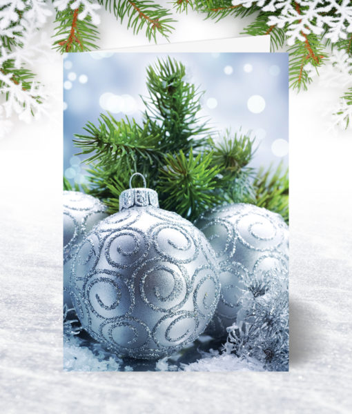 Silver Baubles Christmas Card