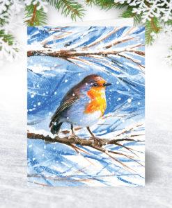 Snow Robin Christmas Card U0064