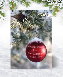 Snowy Red Bauble Christmas Card