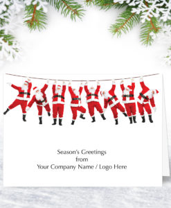 Swinging Santas Christmas Card