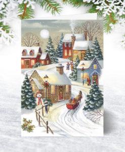 Village Sleigh Ride Christmas Card