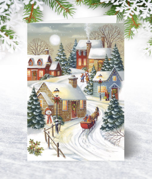 Village Sleigh Ride Christmas Card