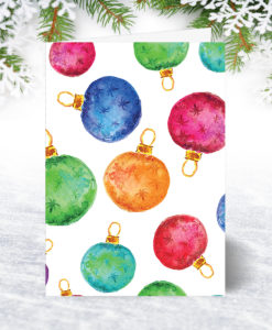 Watercolour Baubles Christmas Card