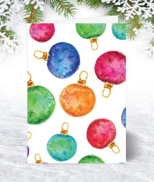 Watercolour Baubles Christmas Card
