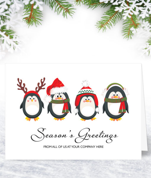 Penguin Parade Humorous Christmas Card