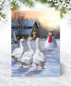 Three Geese Personalised Christmas Card