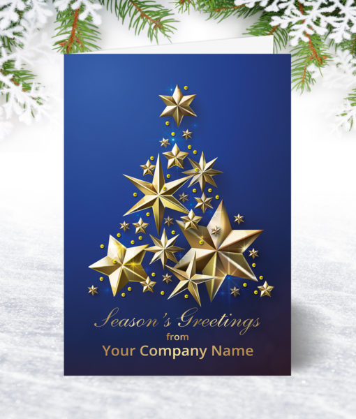 Blue and Golden Stars Christmas Card
