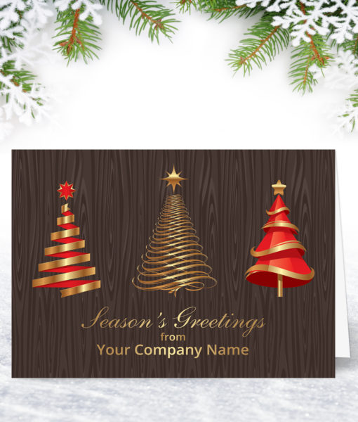 L0139 Red and Golden Trees Xmas Card