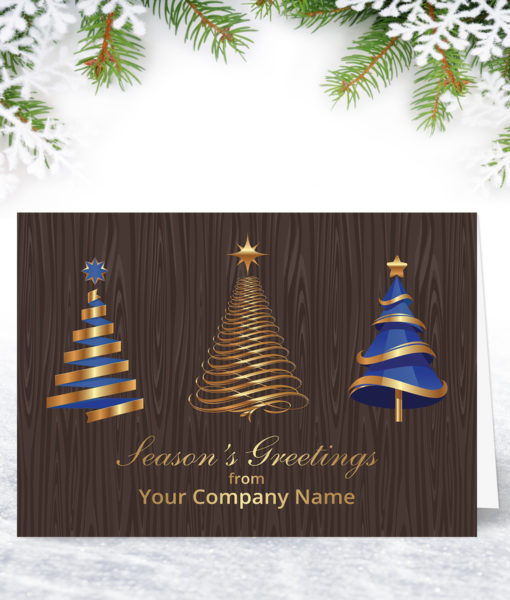 L0140 Blue and Golden Trees Xmas Card