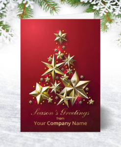 Red and Golden Stars Christmas Card