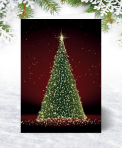Tree Lights Red Christmas Card