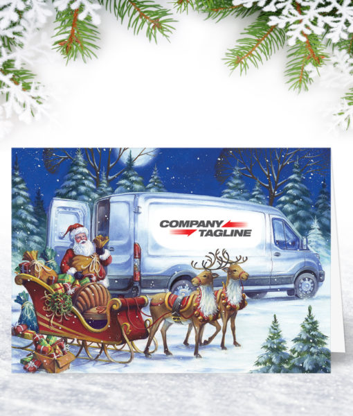 A Helping Hand Transit Van Christmas Card Personalised