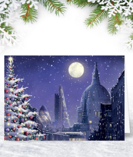 Moonlit London Christmas Card