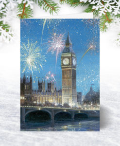 Fireworks over Big Ben Christmas Card