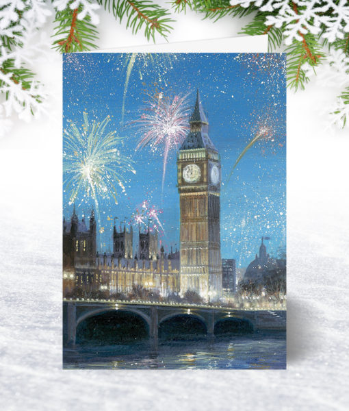 Fireworks over Big Ben Christmas Card
