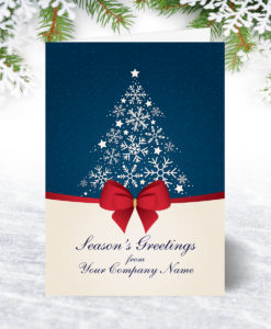 Snowflake Tree and Bow Christmas Card