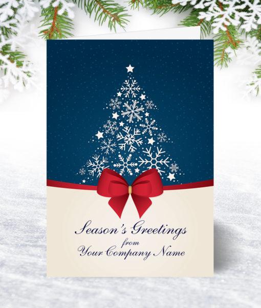 Snowflake Tree and Bow Christmas Card