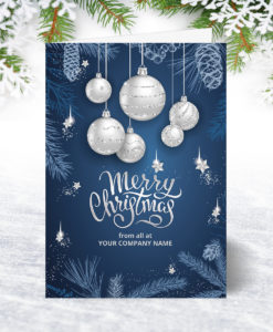 U0159 Silver Bauble Greetings Christmas Card