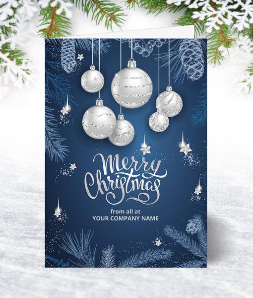 U0159 Silver Bauble Greetings Christmas Card