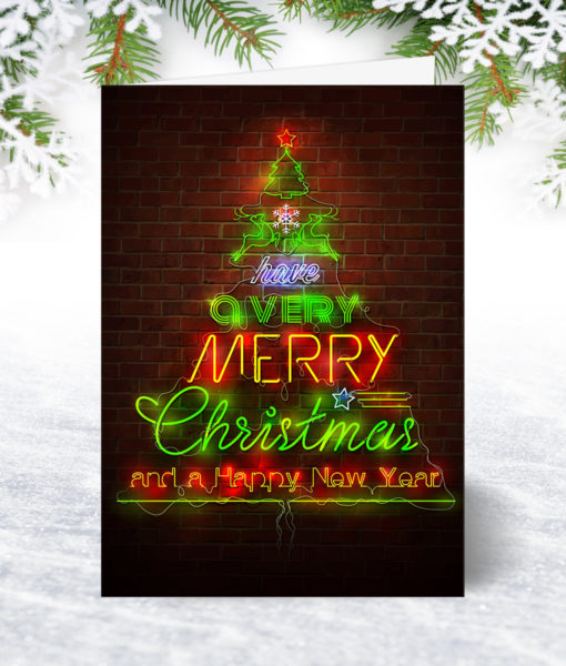 Neon Design Christmas Card