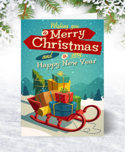 U0177 Vintage Greeting Christmas Card