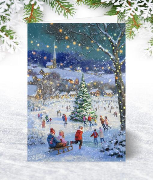 U0200 Skating around the Tree Christmas Card