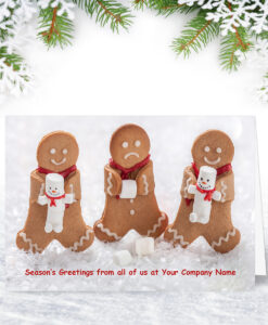 Gingerbread Trio Funny Company Christmas Card