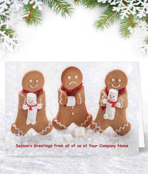 Gingerbread Trio Funny Company Christmas Card