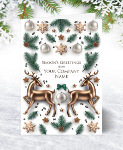 Golden Reindeer Christmas Card