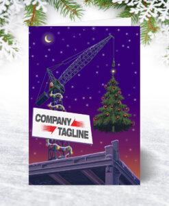 Hoisting the Tree Christmas Card