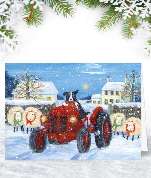On the Farm Tractor Christmas Card