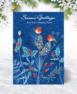 Robins on Blue Christmas Card
