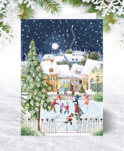 Skating on the Pond Christmas Card