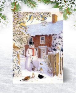 Snowman and Birds Christmas Card